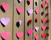 Pink and Purple - Reclaimed Felt Heart Garland - Recycled