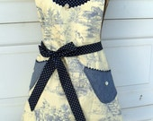 Apron Womans Full Reversible Denim and Toile Plain and Fancy