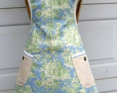 Retro Style Mothers Day Apron in Blue and Green French Toile