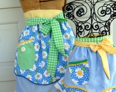 Daisy and Gingham Apron Set Mother Daughter Matching Half Aprons