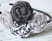 In the Grey quadruple rosette headband