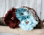 Brown and blue chiffon flower with lace headband
