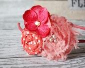 Coral Shades- rosette, flower and chiffon flower headband