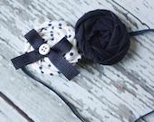 Catalina- navy white polka dot double rosette headband