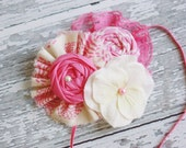 Addison in Wonderland- fabric ruffle, rosette and silk flower band with splash of lace