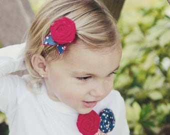 red & blue floral leaves single rosette pin, clip or headband