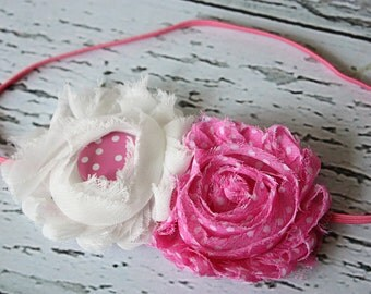 Pinkie Polka Dot chiffon flower headband