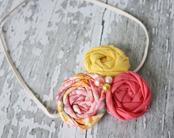 Just Peachy-- triple rosette headband