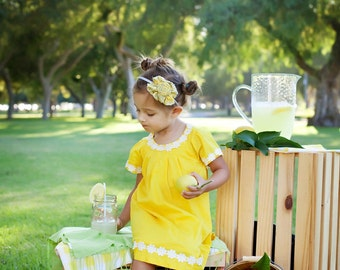 Yellow & grey damask frayed fabric ruffle and rosette headband