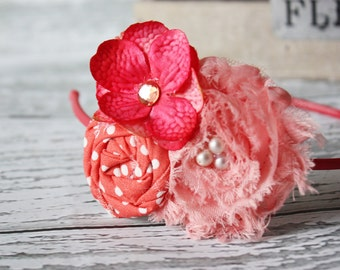 Coral Shades- rosette, flower and chiffon flower headband