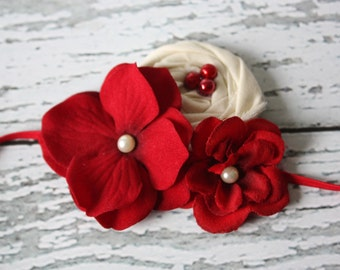 Kate - crimson and ivory flower and rosette headband