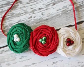 Classic Christmas - red, green and white triple rosette headband