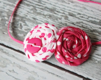 Double Dots in hot pink- double rosette headband