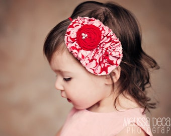 Sweet Valentine- pink and red frayed fabric ruffle and rosette headband