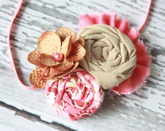 Petite Coral and Brown collage- rosette, flower & ruffle headband
