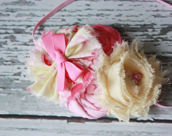 Sweet Pink Lemonade- pink and yellow rosette with chiffon flower headband