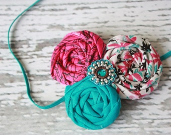 Trinket- triple rosette headband in aqua, hot pink and black