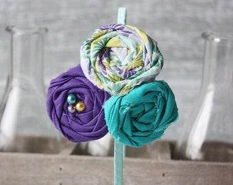 Aqua Violet Shock- aqua, yellow and purple  triple rosette headband