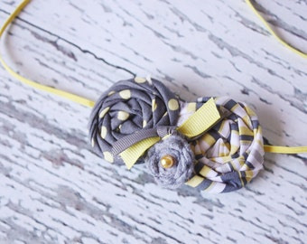 On Target - grey and yellow polka dot and stripe rosette and felt rose headband