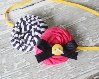 Marina- navy, canary yellow and hot pink double rosette headband