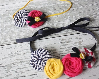 Marina- navy, canary yellow and hot pink rosette headband and necklace set