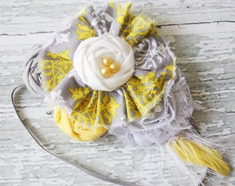 Sing-Song- chiffon and rosette headband and banner bunting set grey and yellow