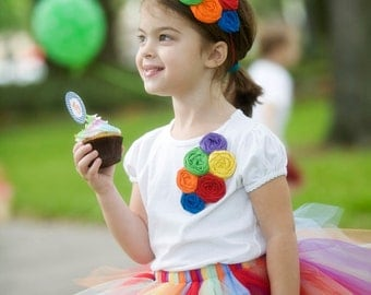 Over the Rainbow -rainbow colored rosette headband and pin set