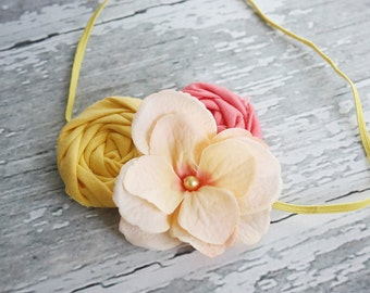 Peachy Keen -- rosette and silk flower headband