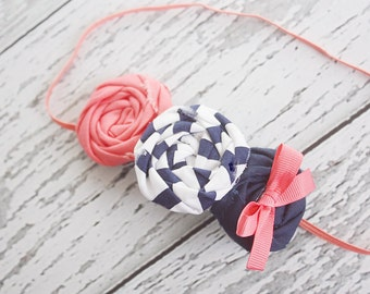 Toss Me a Line- coral and navy nautical inspired triple rosette headband