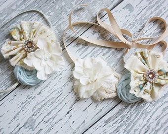 Rock a Bye Baby- blue and ivory floral frayed fabric ruffle and rosette headband and necklace set