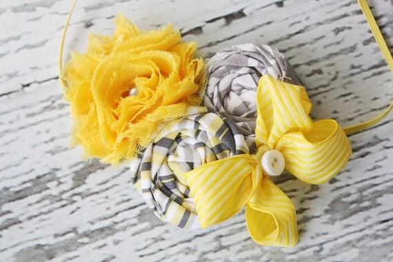 Chickadee, chickadee- chiffon and rosette headband