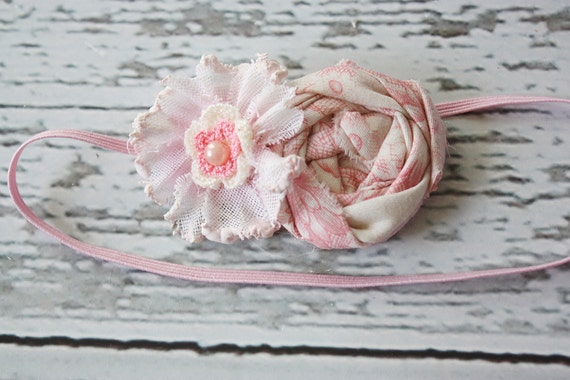 Pink rosette and vintage fabric flower headband