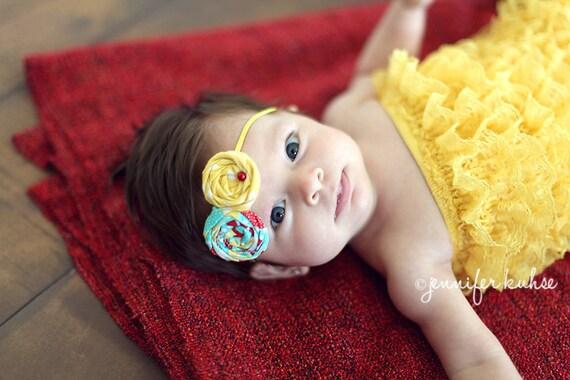 Poppy- double rosette headband