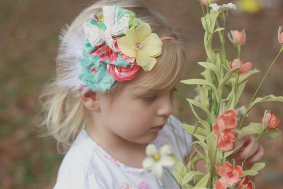 Easter Whim- aqua, pink, peach, coral and yellow rosette and flower collage headband with feather