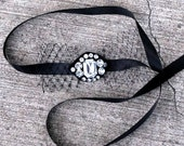 SALE - Sparkle Headband or Choker with Black Veil Bow