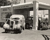 Rivera's Garage - Sepia Southwestern Original Fine Art Black, White Photograph - Antique Car, Mechanics Adobe Garage Photo Charity Donation
