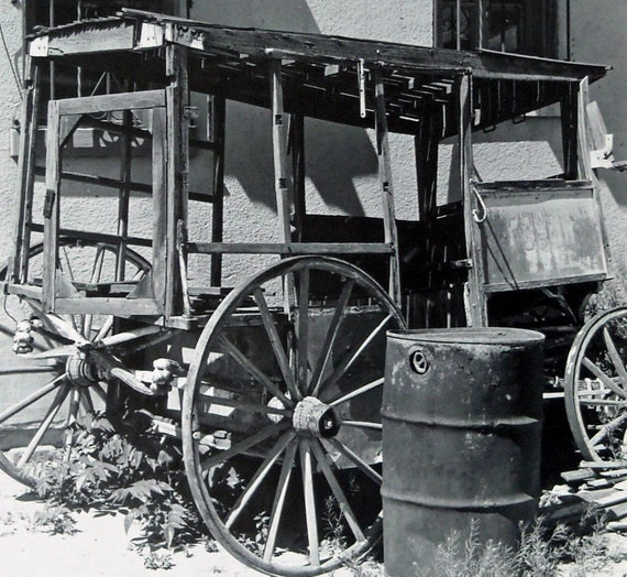 Antique Wooden Wild West Wagon - Original Fine Art Southwest Black and White Photograph - Abandoned Past Hand Printed Photo Charity Donation