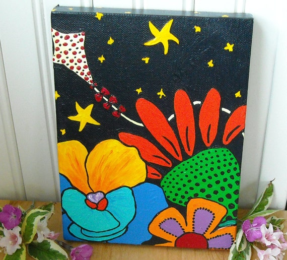 Flowers & Kite Acrylic Fine Art Painting - A Seussical Adventure Whimsical Wall Hanging - Nursery Children Kids Room Decor - FLY