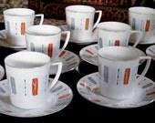 Vintage Teacup Set of 12 Mid-century Modern