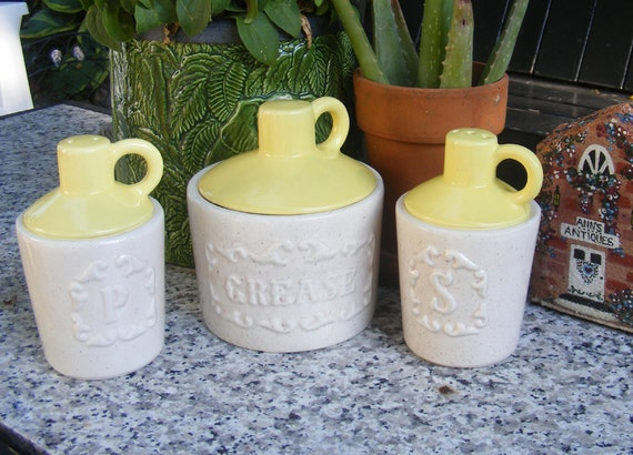 Salt & Pepper Shakers and Grease Jar in Yellow