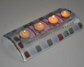 Pinky Purpley 4 Tea-light Glass Candle Holder