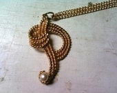 Vintage Letter P necklace with faux pearl- Free Shipping in the US