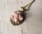 Vintage Ceramic Rose Necklace-Matching Earrings Available-Free Shipping in the USA