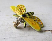 Vintage Enamel Bee Brooch Signed ART-Free Shipping in The USA