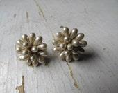 Vintage Jewelry-1950s Faux Pearl Screw on Earrings-Free Shipping