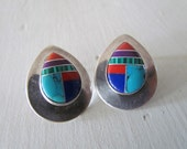 Vintage Sterling SIlver Post Earrings With Stone Inlay c.1960s