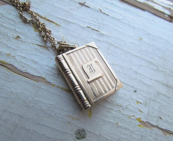 Locket Vintage 1940s Book Locket With Monogram J Signed Hayward
