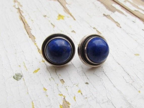 Reserved for Cecile- Vintage Signed Georg Jensen Denmark Post Earrings / Modernist Lapis Lazuli On Sterling Silver Posts c.1960s
