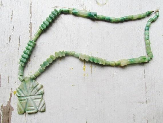 Vintage Carved Jade Aztec Mask Necklace c.1960s