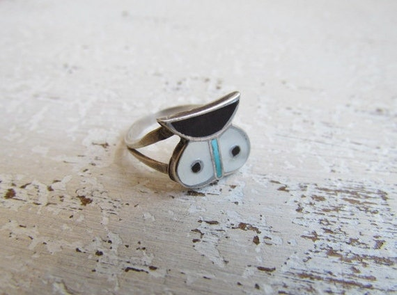 Vintage Sterling Silver Owl Ring / Onyx Mother Of Pearl Turquoise Inlay c.1970s